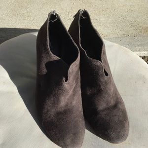 Elie Tahari Dark Gray Suede Wedge Booties